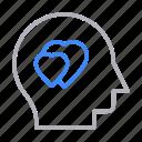 face, head, heart, love, romance icon