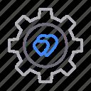 gear, heart, love, romantic, setting icon