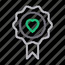 badge, heart, like, love, romance icon