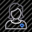 avatar, female, girl, heart, love icon
