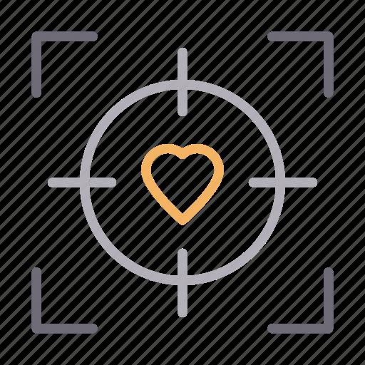 focus, heart, love, romance, target icon