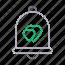 bell, heart, love, notification, romance