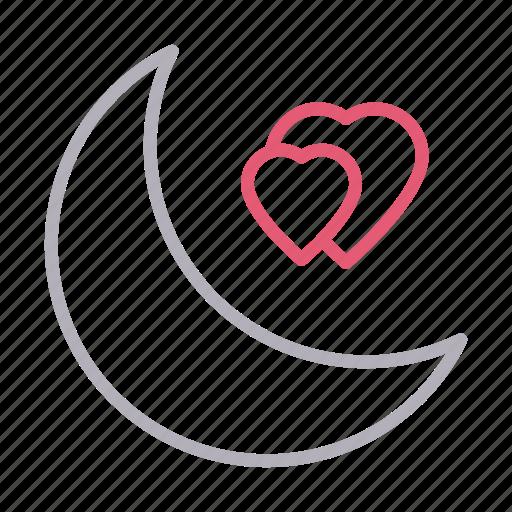 heart, love, moon, night, romantic icon