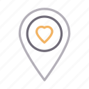 favorite, heart, like, location, love icon