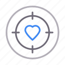 heart, like, love, romance, target icon