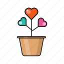 growth, heart, increase, love, plant icon