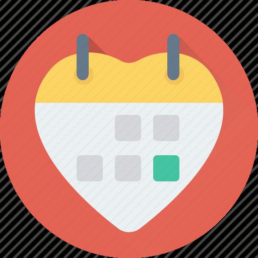 heart, love calendar, love day, valentine day, wall calendar icon
