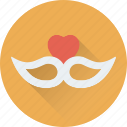 carnival, celebrate, heart, mask, theater mask icon