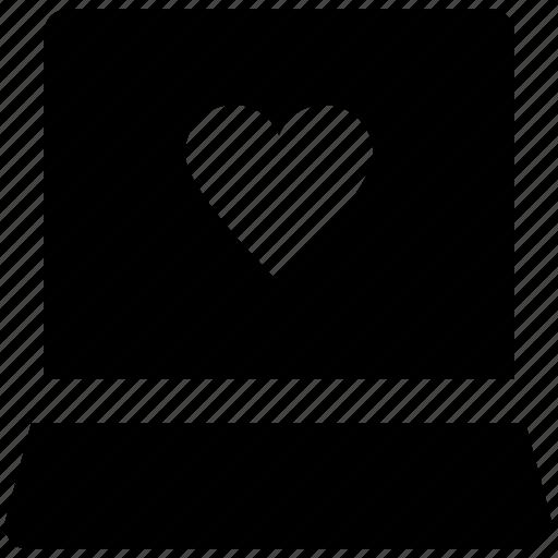 heart sign, imagination, laptop, love, love inspiration, love via internet, valentine day icon
