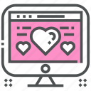 computer, heart, laptop, love, romance, technology, valentine