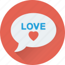 chat bubble, love chat, love message, romantic chat, romantic conversation icon