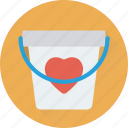 bucket, can, heart bucket, loving, water bucket icon