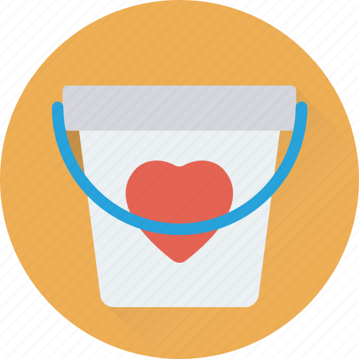 bucket, can, heart bucket, loving, water bucket icon