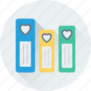 file folders, files storage, heart files, loving, romantic icon