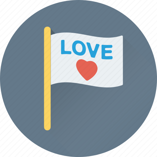 affection, in love, love flag, love insignia, love sign icon