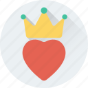 crown, favorite, heart, love, romantic icon