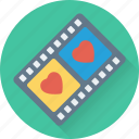 movie, multimedia, romantic movie, video, video player icon