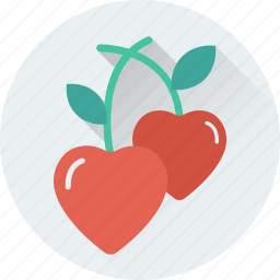 berries, cherry, fruit, healthy food, heart cherry icon