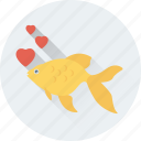 aquarium, fish, heart, love, romance icon