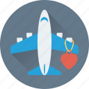 airplane, flight mode, heart, honey moon, romantic icon