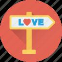 arrow, direction, love, love signpost, signpost