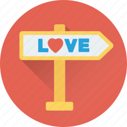 arrow, direction, love, love signpost, signpost icon