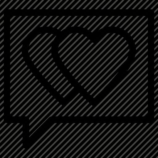 chat, conversation, heart, message, romance, romantic icon