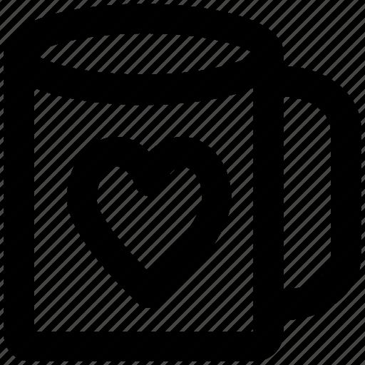 coffee mug, feelings, friendship, heart symbol, in love, sentimental, valentine day icon