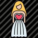 bridal, bridal frock, bridal gown, bride dress, clothing worn, engaged woman, wedding dress icon