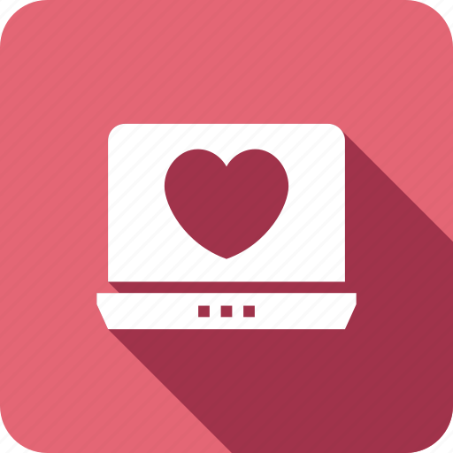 dating, heart, laptop, love, marriage, online icon