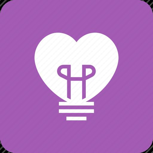 Bulb, Heart, Lamp, Light, Lightbulb, Love Icon