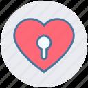 heart, hole, keyhole, lock, love, romance, valentine icon