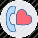 call, heart, love, message, phone, romantic, telephone icon