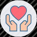 care, hand, health insurance, heart, heart care, love, medical icon
