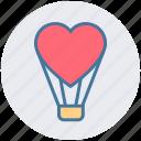 celebration, fly, flying balloon, heart, love, love balloon, travel icon