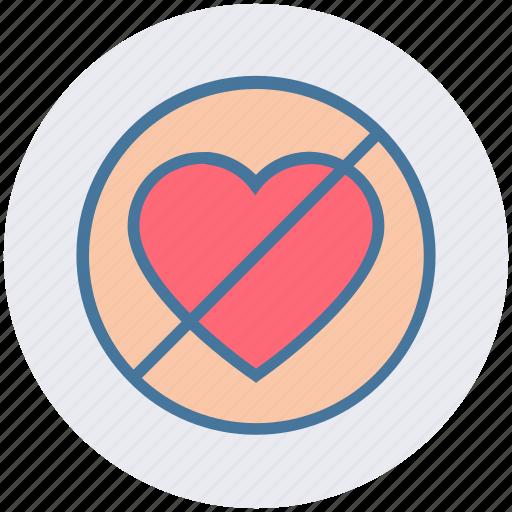 ban, hate love, heart, love, no, no love, valentine icon
