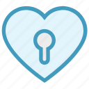 heart, hole, keyhole, lock, love, romance, valentine icon