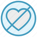 ban, hate love, heart, love, no, no love, valentine icon