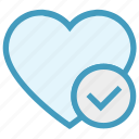check, favorite, heart, love, romantic, valentine, valentines icon