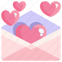 email, heart, love, mail, postcard, valentine icon