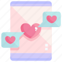 chat, communication, heart, love, message, smartphone, valentine icon