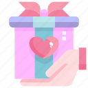 box, gift, heart, love, shopping, valentine icon
