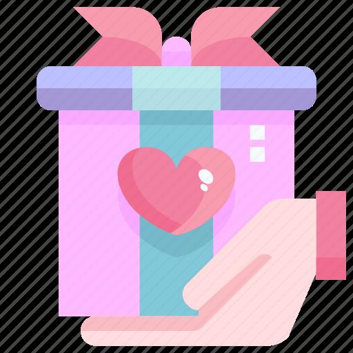 box, gift, heart, love, shopping, valentine icon