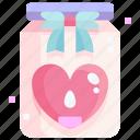 bottle, candle, heart, jar, love, valentine icon
