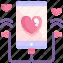 heart, love, smartphone, song, valentine icon