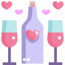 cheers, drink, heart, love, party, valentine icon