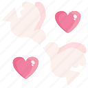 bird, heart, love, valentine icon