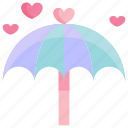 heart, love, umbrella, valentine