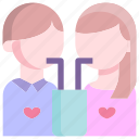 drink, heart, love, man, together, valentine icon