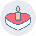 cake, cake with candle, candle, heart, heart shaped, valentine, wedding cake icon